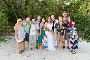 bride and groom and family at destination wedding on Sanibel Island
