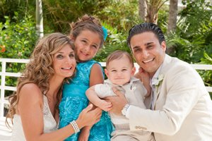 bride and groom and children photograph