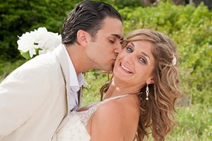 bride and groom photograph at sanibel island beach wedding