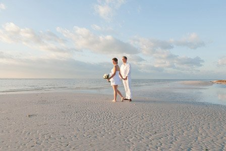 photograph of a bride and groom at their intimate wedding ceremony on sanibel island