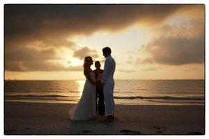 wedding couple at sanibel island sunrise wedding
